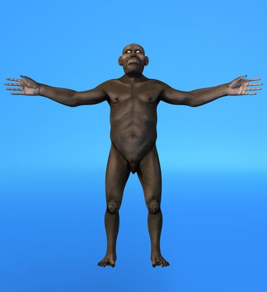 australopithecus men 3d lwo