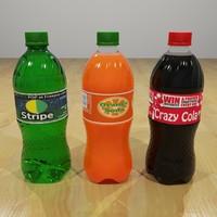 3d model plastic pop bottles