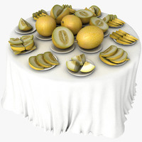 White Melon Table Fruit Dish Restaurant Celebration Wedding Ceremony