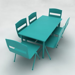 3d play school desk table chairs model