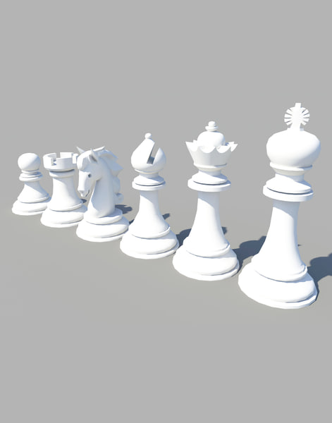 3d model standard set chess figures