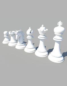 3d model standard set chess figures