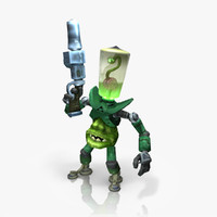 Alien invader rigged & animated