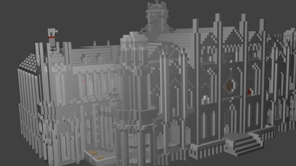 block-style castle obj