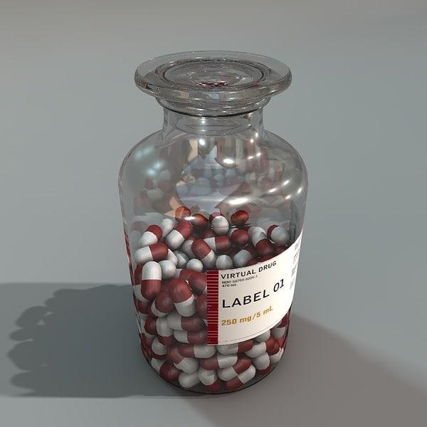 3d bottle pills
