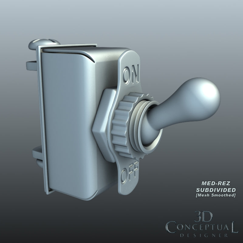 3d vintage toggle switch model