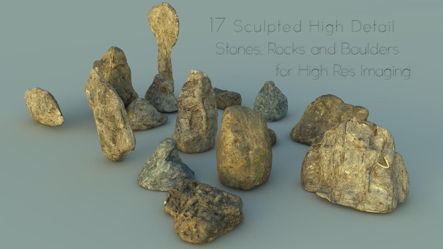 3d model debris stones rocks