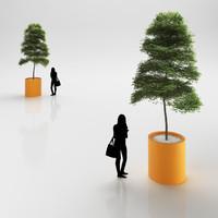 3d model tree plastic pot
