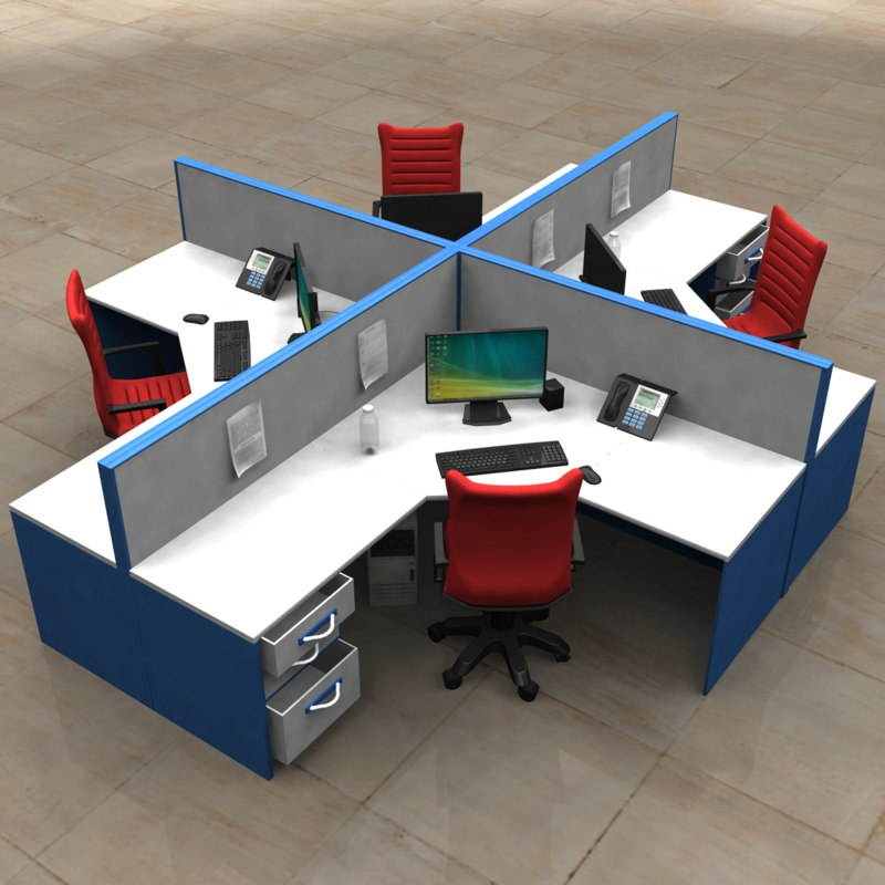 3d cubicle desk model
