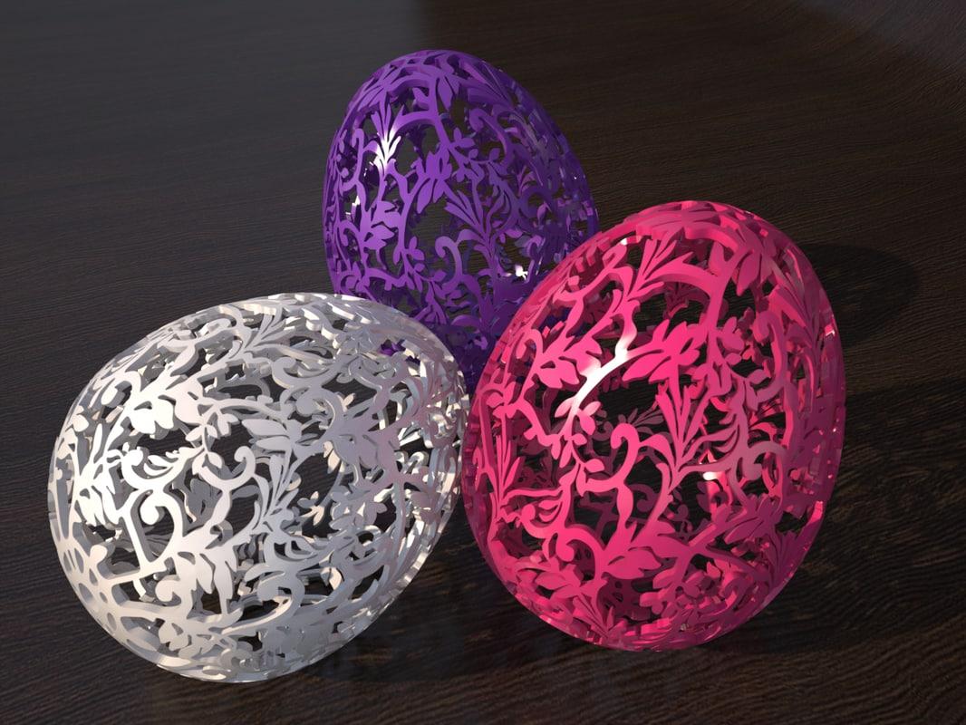 3d open egg ornamental easter