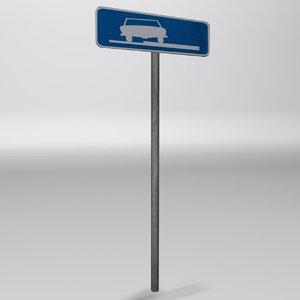3ds max parking sidewalk sign