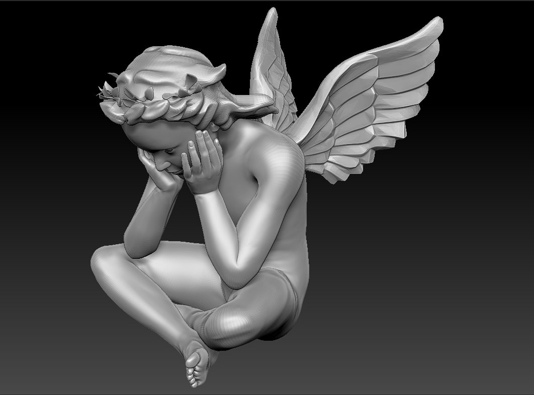 angel sitting obj