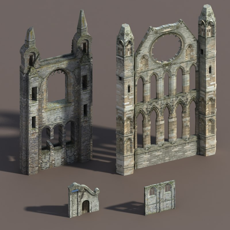 castle ruins modelled 3ds