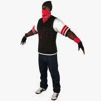 3d c4d black male gangster