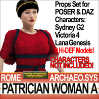 Props Set Poser Daz for Ancient Roman Patrician Woman A