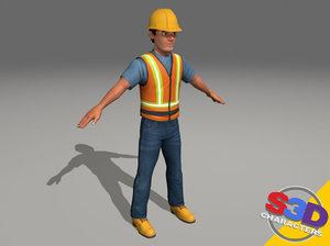 3d model construction worker