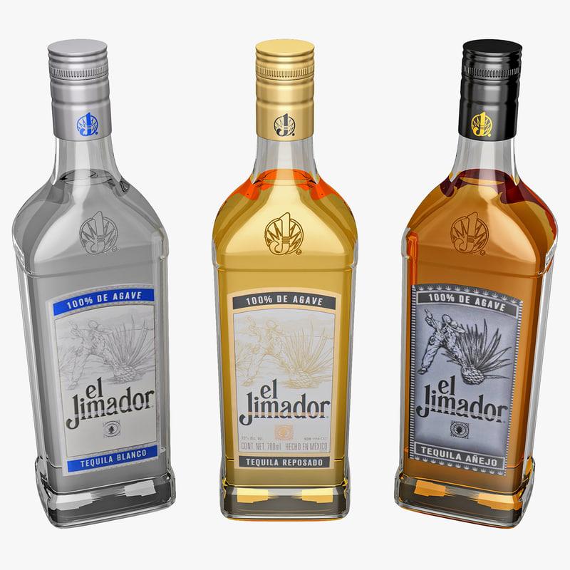 el jimador tequila bottles 3d model