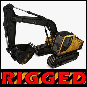 c4d excavator rigged