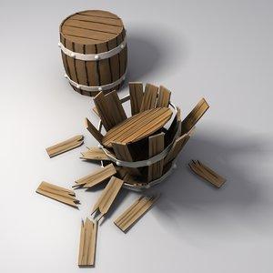 simple wooden barrel 3d model
