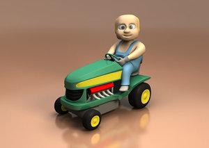3d model of race tractor
