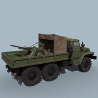 gun truck ural-4320 zpu-2 3d 3ds