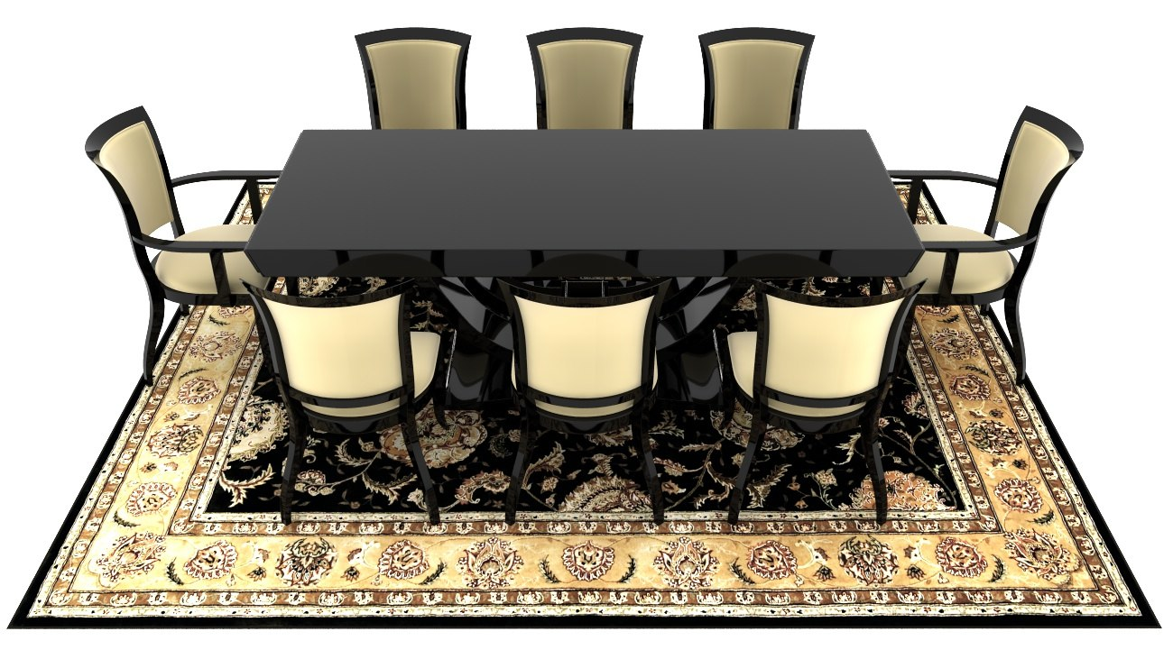 dining room set chairs 3d obj