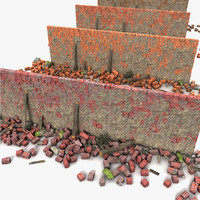 rubble wall 3d model