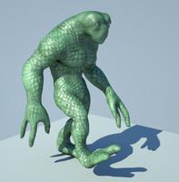 3d ma rig reptile alien