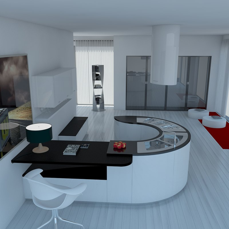 modern 2 kitchen 2011 3d max
