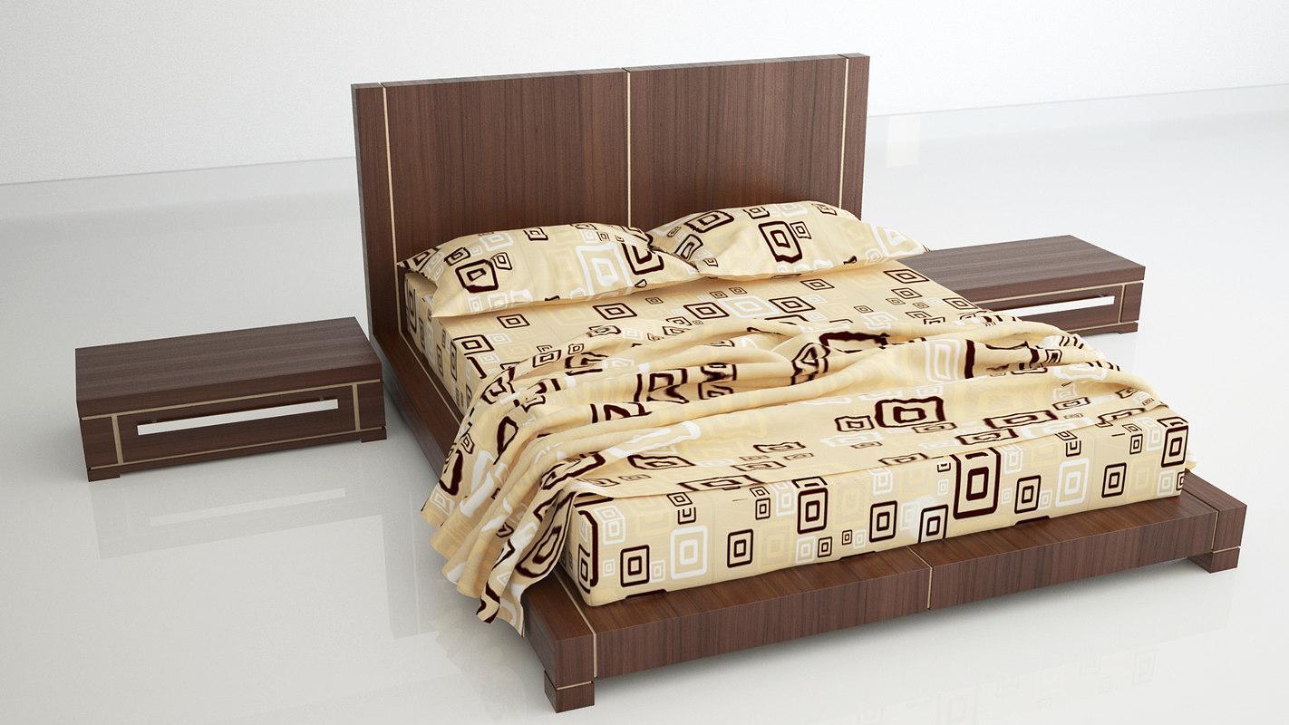 bed bedroom set 3d dxf