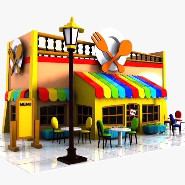 3d cartoon restaurant toon