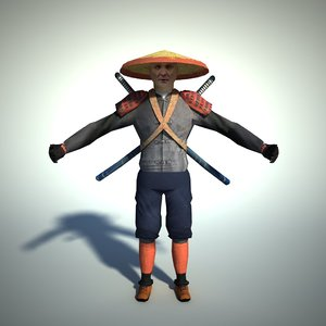 free character samurai 3d model