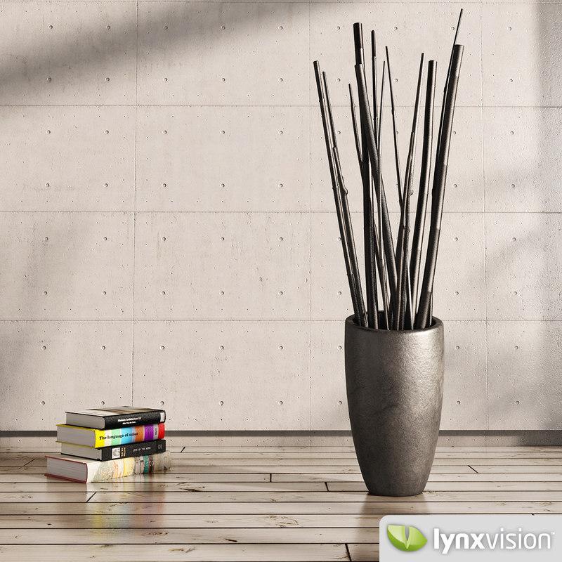 3dsmax ceramic vase reeds