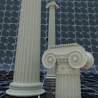 column ionic decors 3d obj