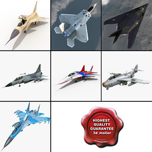 3d jet fighters rigged 6 model