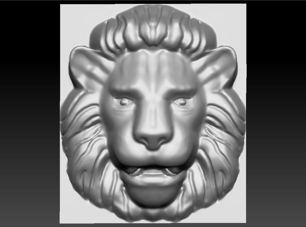lion relief 3d obj