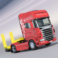 Scania R730 V8 with Flatbed Semitruck