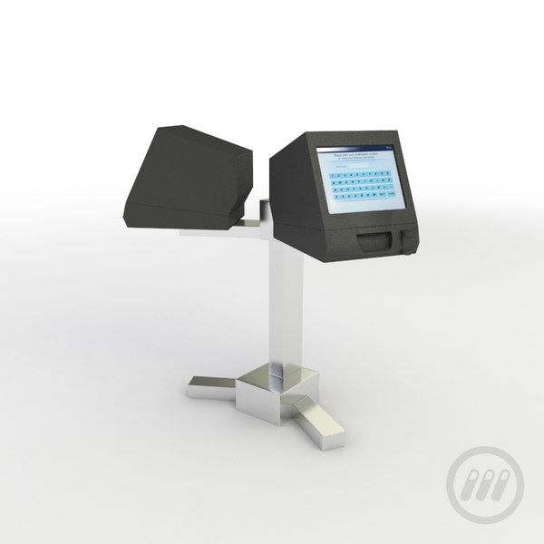 self-service ticketing kiosk 3d max