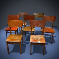 7 old chairs 3d 3ds