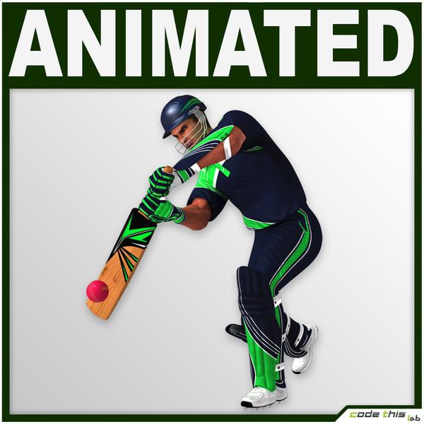 helmet cricket bat characters 3d obj