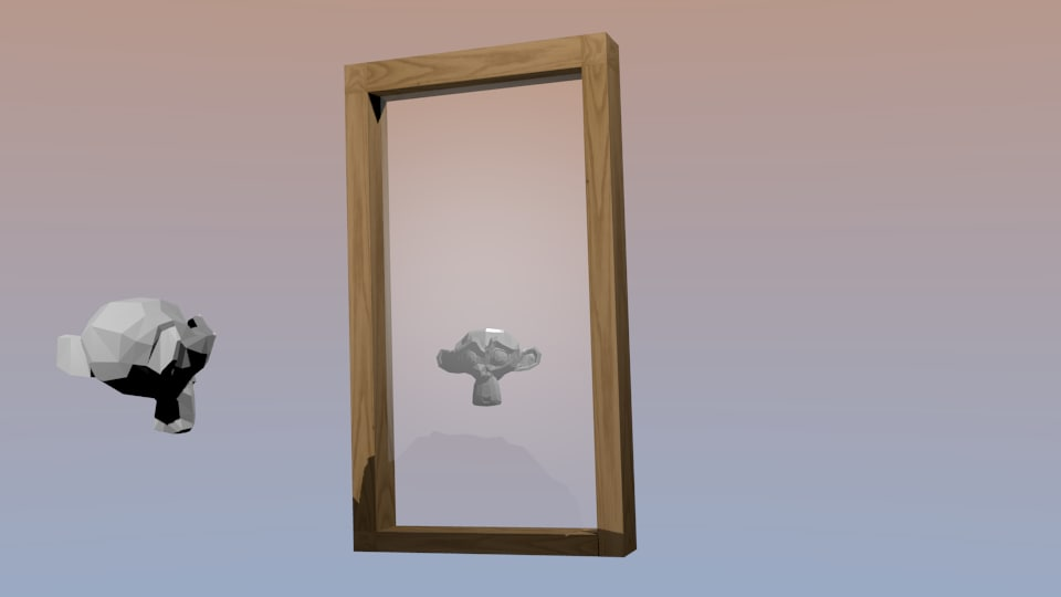 simple wooden mirror frame 3d model