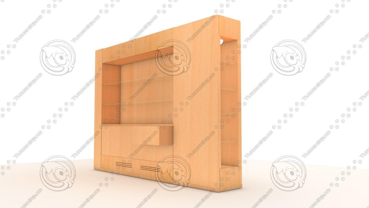 furniture wood glass 3d model