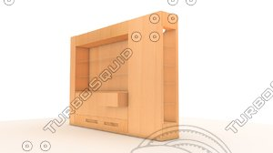 furniture wood glass 3d model