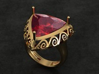 3d ring trillion garnet model