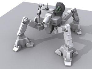 3d model combat walker tank