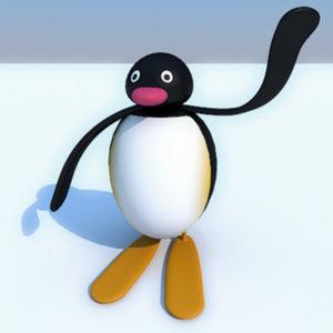 pingu penguin cartoon 3d model