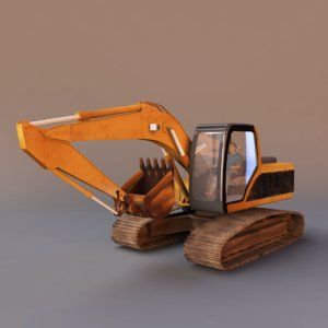 excavator vehicle 3d 3ds