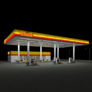 3d shell gas station nightversion