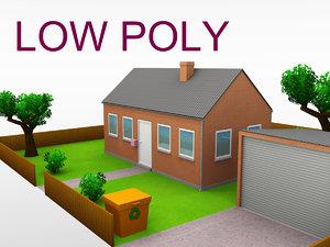 3d building suburban residential - model