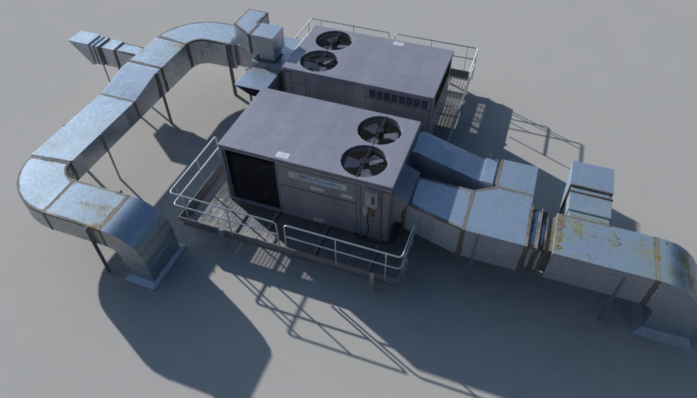 Rooftop Units Duct : Rooftop ac hvacs d obj